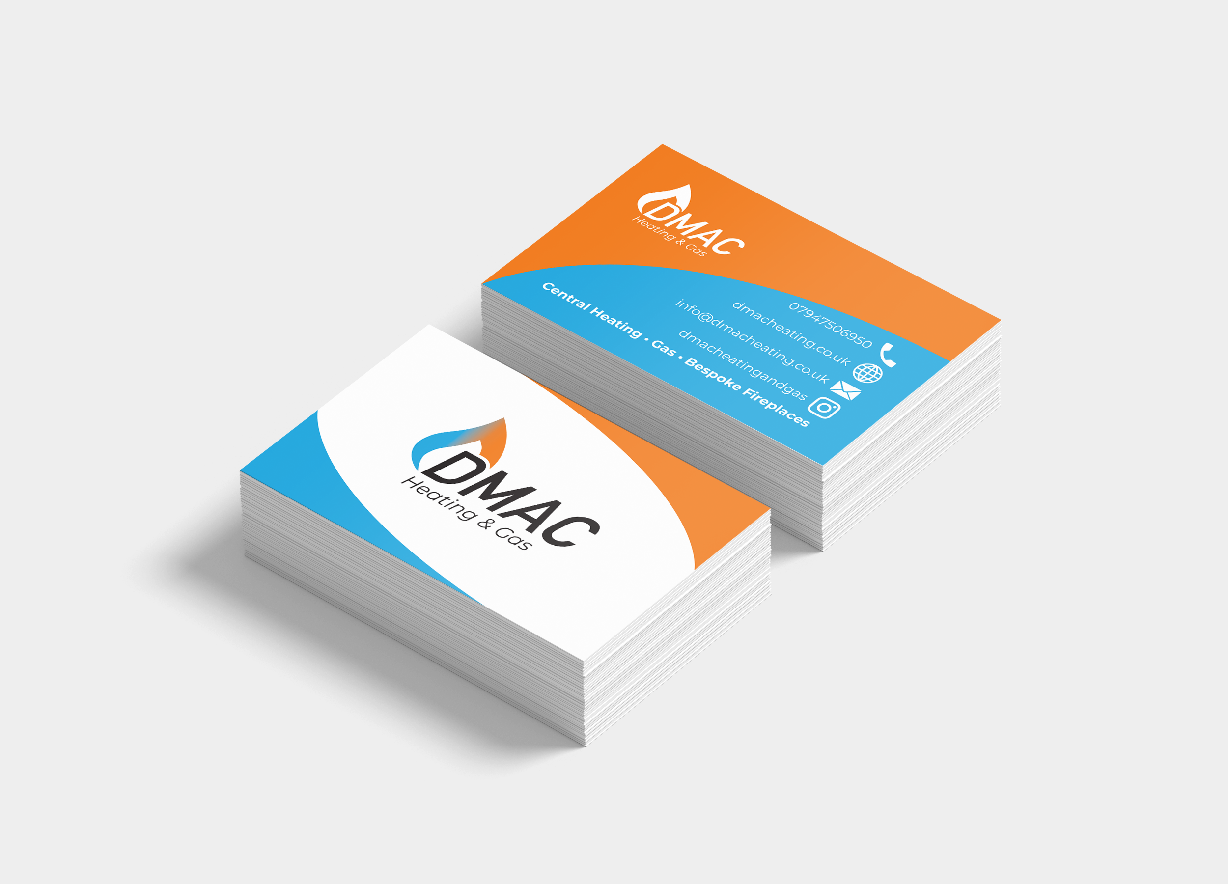 DMAC heating & gas business card mockup for Max Design Services